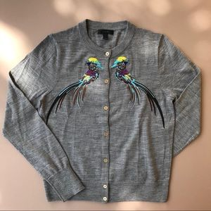 J Crew Jackie Sweater with Embroidered Pheasants M